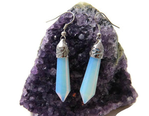 Large Opalite Crystal Point Earrings