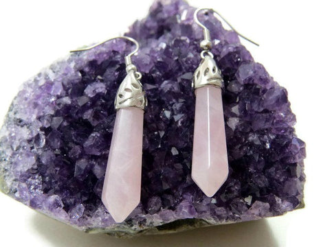 Large Rose Quartz Crystal Point Earrings