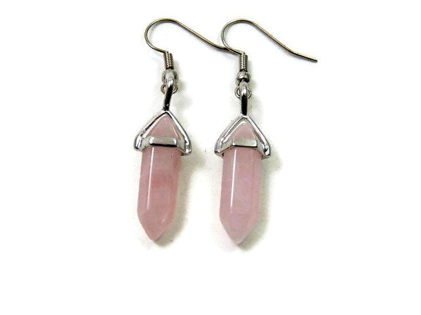 Small Rose Quartz Crystal Point Earrings - Front