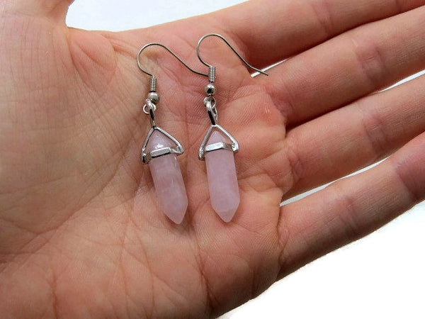 Small Rose Quartz Crystal Point Earrings - Size Reference
