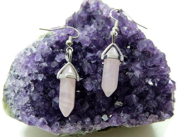 Small Rose Quartz Crystal Point Earrings