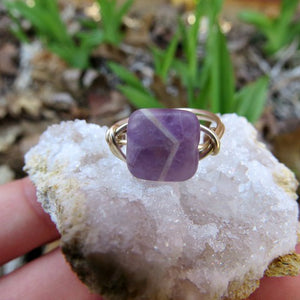 Chevron Amethyst Wire Wrapped Crystal Ring