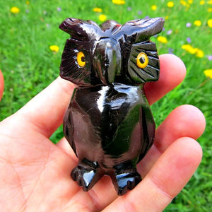 Carved Crystal Owl in Black Calcite