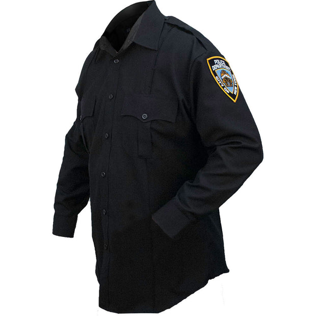 Poly/Cotton NYPD Men's Long Sleeve Shirt with patches