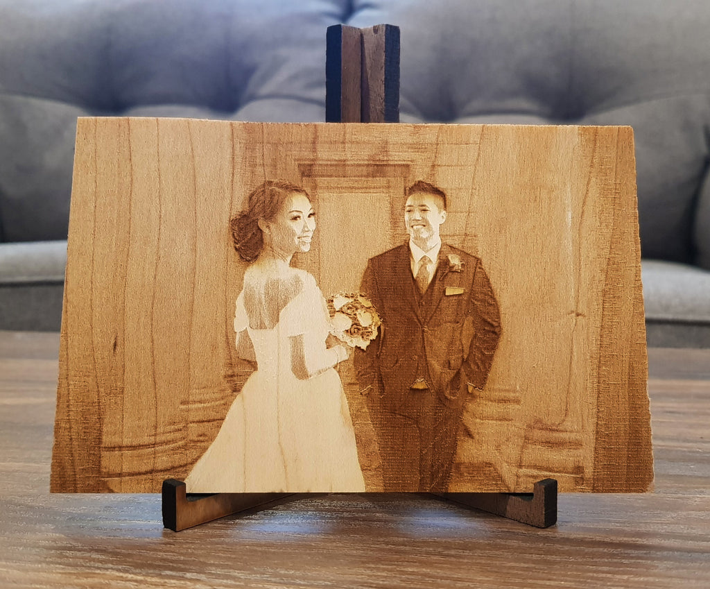 Laser Engrave Wooden Photo for Sizes 4x6, 5x7, and 8x10 - Comes with Free Wooden Photo Frame Stand - Customize It! - Knock On Wood Co