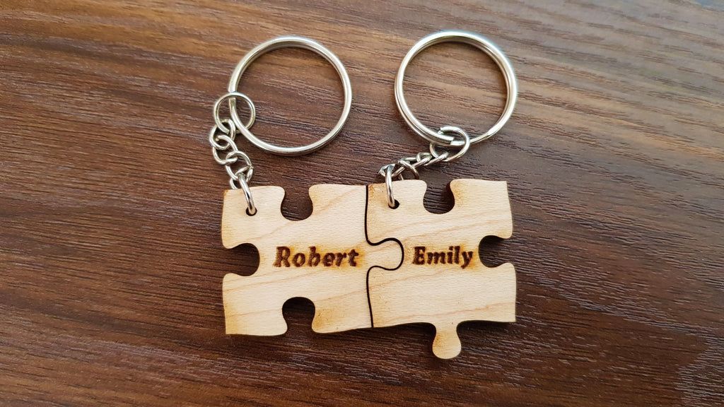 Wooden Puzzle Keychain- One Puzzle Piece - Personalize It! - Knock On Wood Co