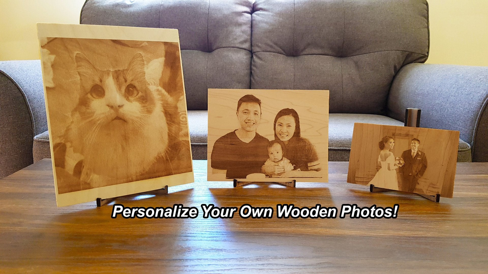 Personalize Laser Engraving Wooden Photos