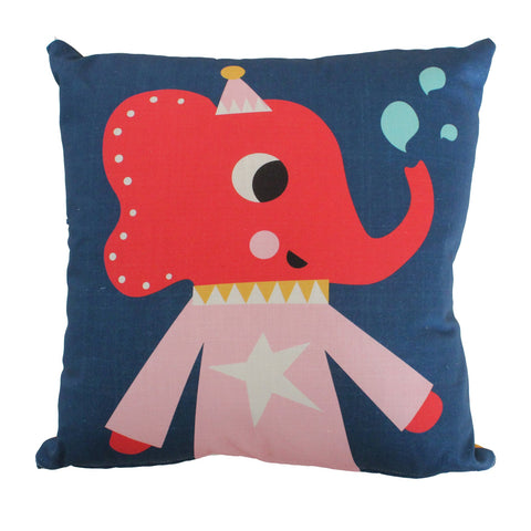 Red elephant illustration on a blue background cushion cover with feather inner