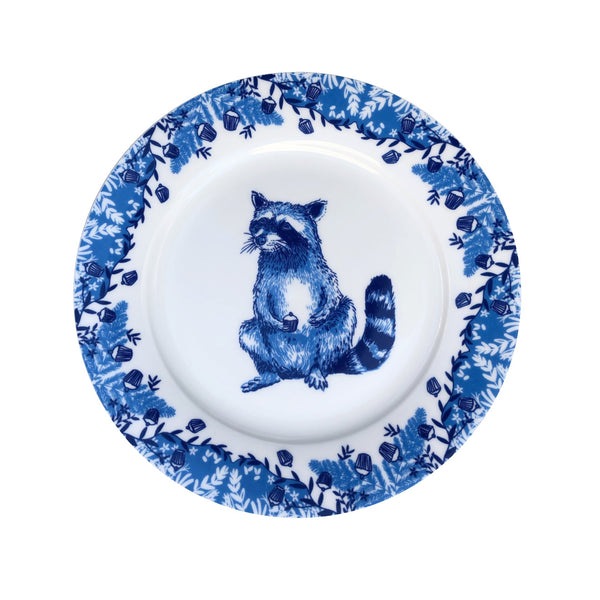 Bone china plate with racoon illustration.