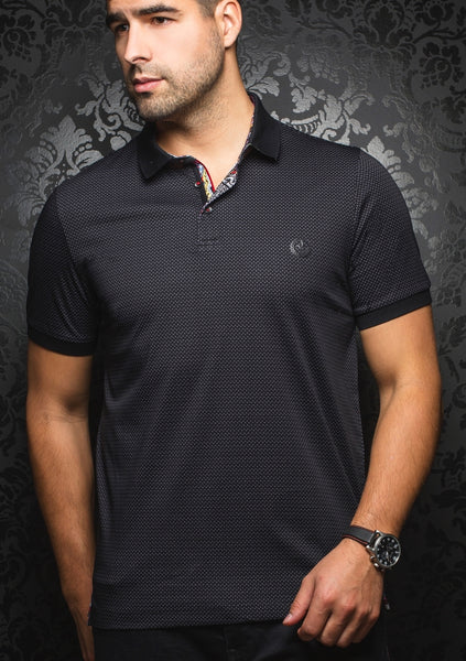 black polo shirt from the Au Noir 2019 collection