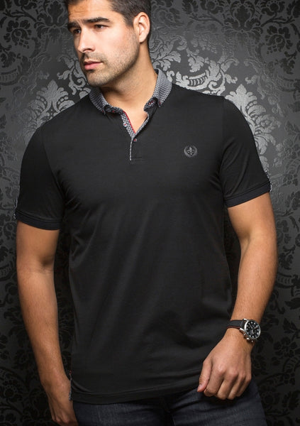 Au Noir black polo shirt with grey contrasting collar