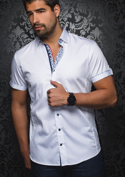 Au Noir slim fit white short sleeve shirt -Alonso white