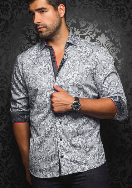 Au Noir black shirt for men with floral print