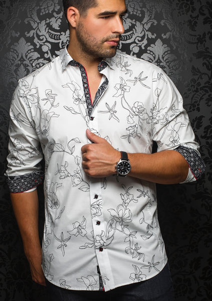 white floral shirt from Au Noir shirts