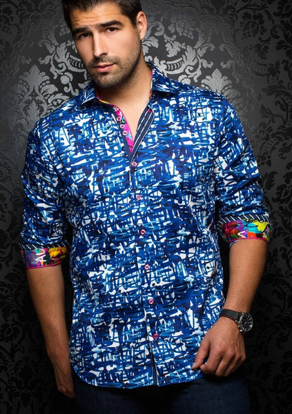 funky long sleeve blue shirt for men from Au noir shirts