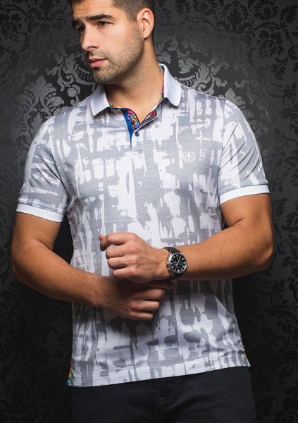grey white fitted polo shirt designed by Au Noir shirts