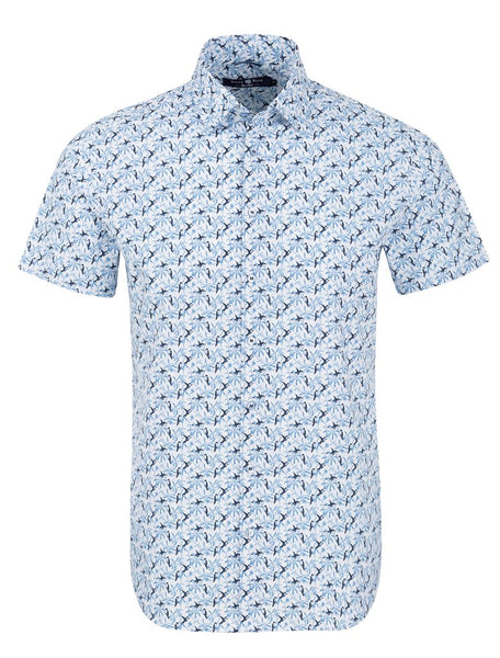 Stone Rose short sleeve shirt with a blue bird pattern