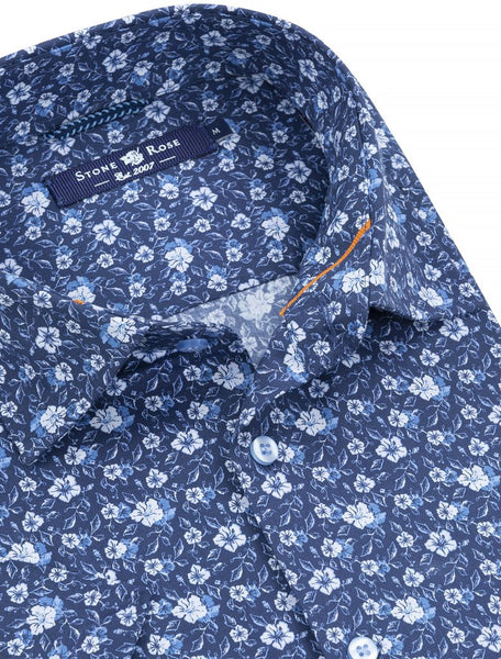 stone rose blue floral short sleeve shirt from Spring 2019 collection