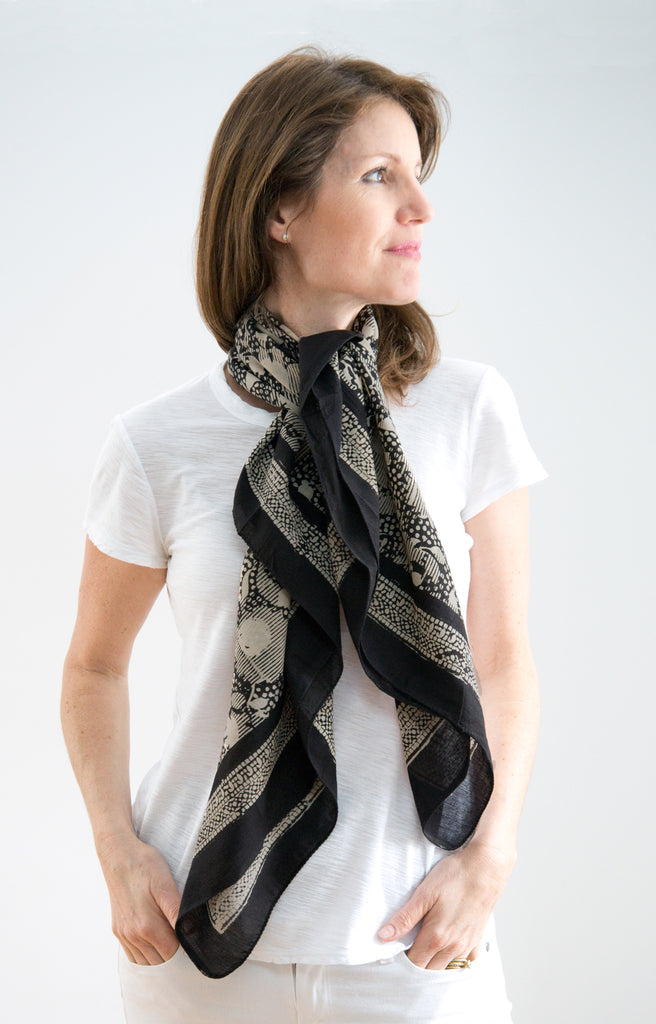 Scarf in Black and Tan Shadows