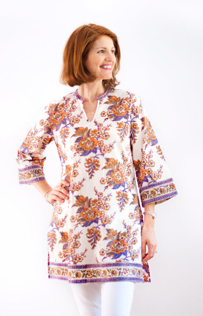 Straight Tunic in Blossoms Sienna