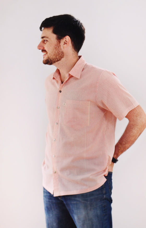 Men's Short Sleeve Shirt in Dawn Stripe