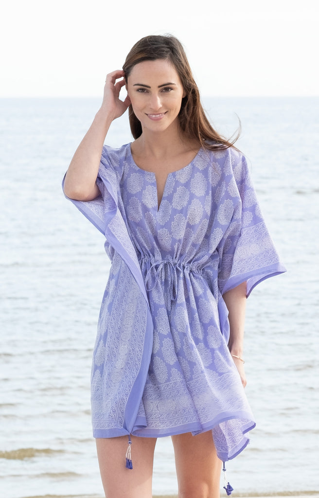 Peasant Tunic in Lavender Motif