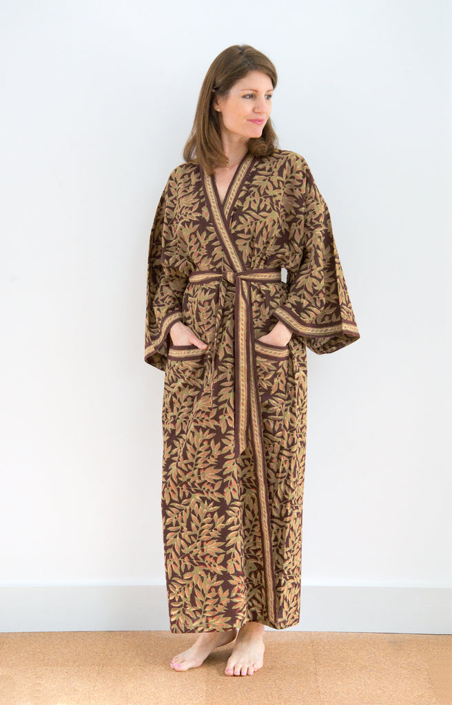 Long Kimono in Rust Leaves
