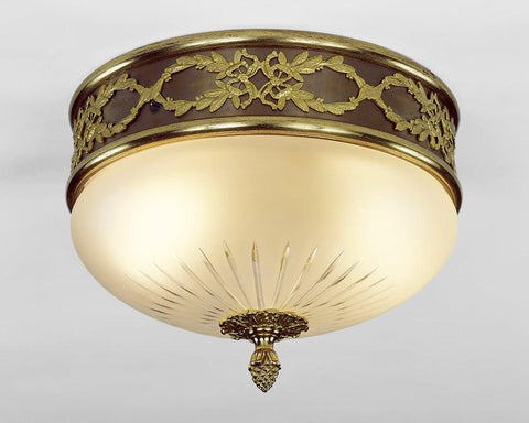 Cast Brass And Frosted Glass Ceiling Mount Lantern LCM-6