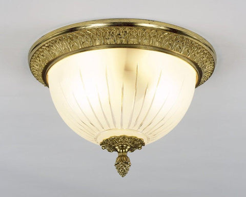 Cast Brass And Frosted Glass Ceiling Mount Lantern LCM-8