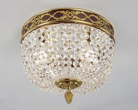 Crystal And Cast Brass Ceiling Mount Lantern LCM-5
