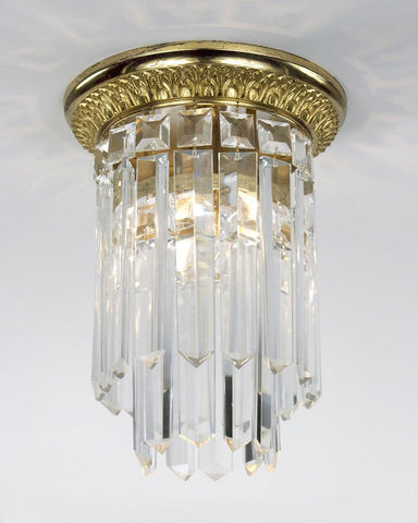 Crystal And Cast Brass One Light Ceiling Mount Lantern LCM-13