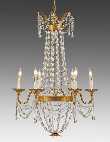 Crystal and metal six light chandelier LCC-22