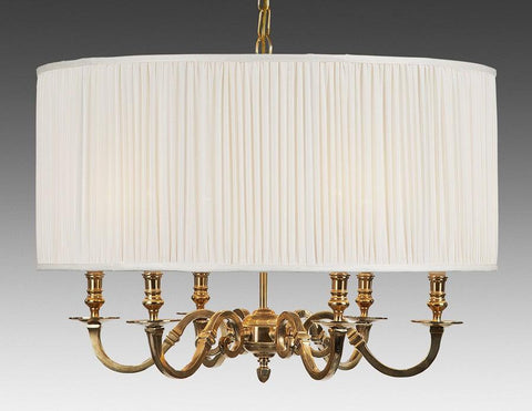 Brass And Drum Style Fabric Shade Six Light Chandelier LCFI-64a