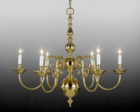 Cast Brass Six Light Chandelier LCFI-6