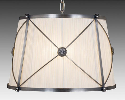 Brass and fabric shade X design four light chandelier LCFI-21b