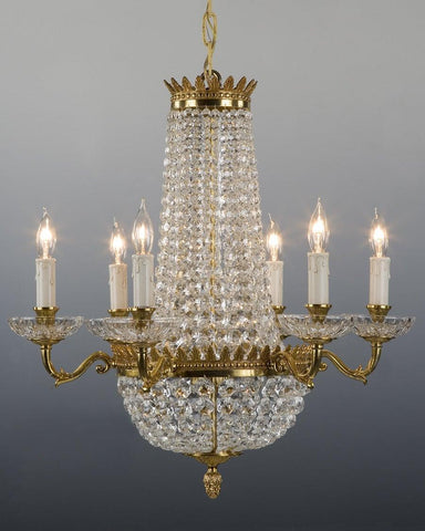 Crystal and cast brass chandelier LCC-4