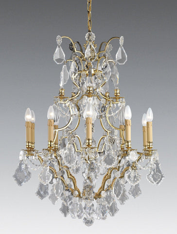Crystal and cast brass ten light chandelier LCC-41