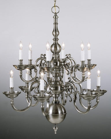 Cast brass Chippendale style twelve light two tier chandelier LCFI-2b