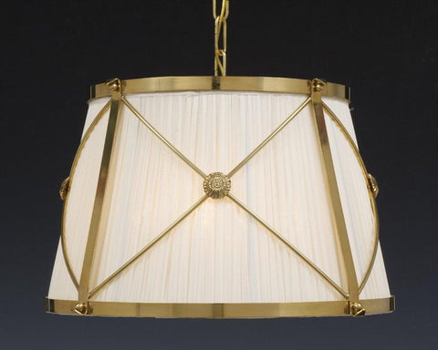 Brass and fabric shade X design four light chandelier LCFI-21a
