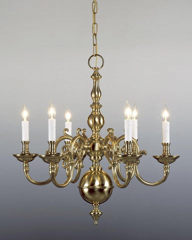 Cast Brass Chippendale Style Six Light Chandelier LCFI-5