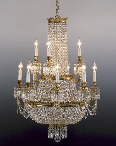Crystal and cast brass chandelier LCC-3