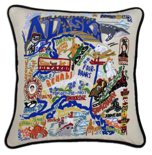 Alaska Embroidered CatStudio State Pillow-Pillow-CatStudio-Top Notch Gift Shop