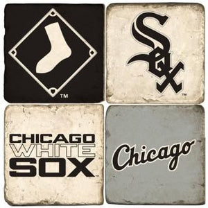 Chicago White Sox Italian Marble Coasters with Wrought Iron Holder (set of 4)-Coasters-Studio Vertu-Top Notch Gift Shop
