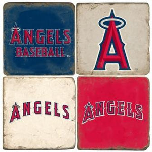 Los Angeles Angels Italian Marble Coasters with Wrought Iron Holder (set of 4)-Coasters-Studio Vertu-Top Notch Gift Shop