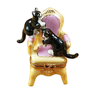 Pink Armchair W/Two Cats Limoges Box by Rochard™-Limoges Box-Rochard-Top Notch Gift Shop