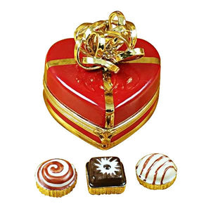 Red Heart with Gold Bow and Truffle LImoges Box by Rochard-Limoges Box-Rochard-Top Notch Gift Shop