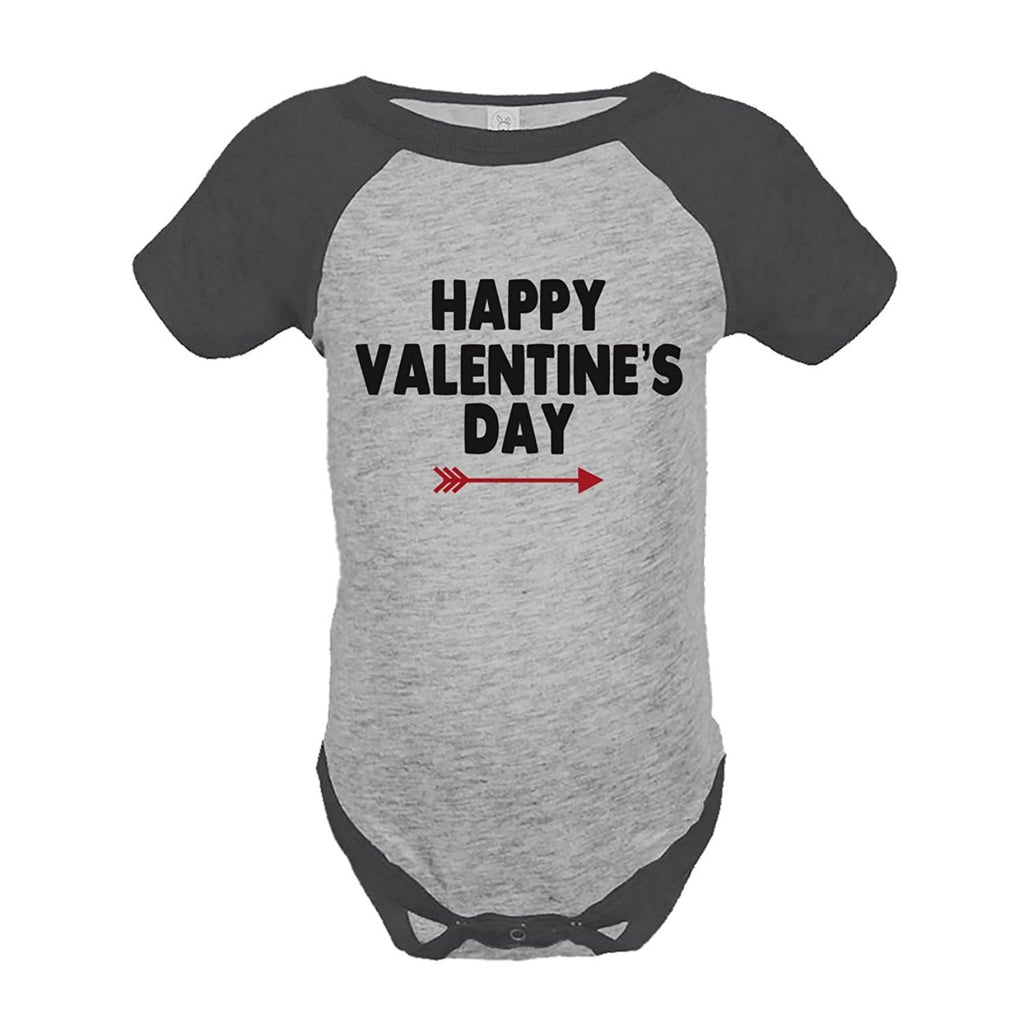 7 ate 9 Apparel Boy's Happy Valentine's Day Grey Onepiece