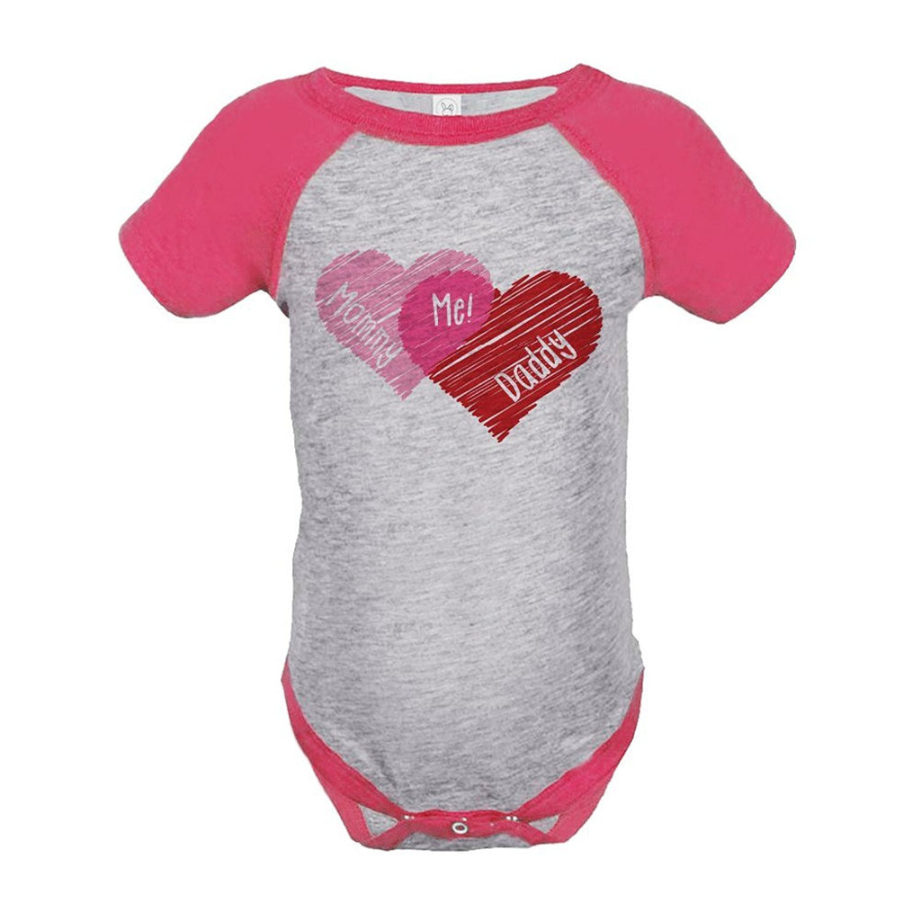 7 ate 9 Apparel Baby Girl's Mommy + Daddy = Me Valentine's Day Onepiece 18 Months Pink and Grey