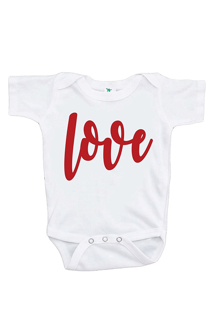 7 ate 9 Apparel Baby's Love Happy Valentine's Day Onepiece