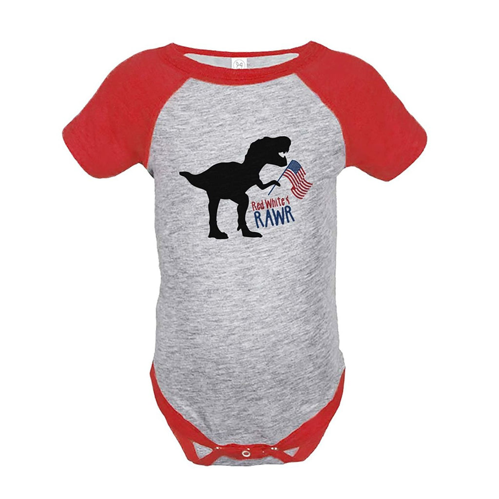 7 ate 9 Apparel Kids Dinosaur 4th of July Red Onepiece